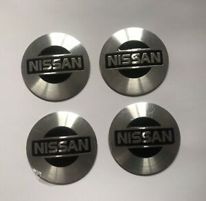 Set of 56mm SILVER&BLACK Domed Wheel Centre Cap Cover Stickers For Car NISSAN