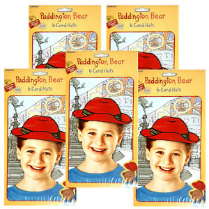 Pack of 30 Paddington Bear Party Hats - Red Card Hats with Elastic String