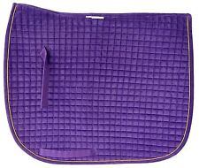 PRI Dressage Couture Velvet Dressage Pad: Quilted w/Piping  Purple/Gold