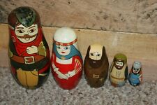 Robin Hood Nesting Doll Set Lady Marian Friar Tuck & More 6In To 2In Height