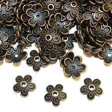 MX3158p Antiqued Copper 10mm 5-Petal Scalloped Filigree Flower Bead Caps 200/pkg