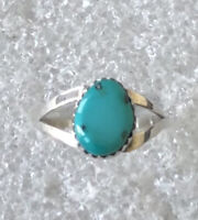 Vtg Native American Navajo Sterling Silver Turquoise Dual Band Blue Ring Sz 6.5