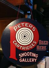 Repro Peters Cartridges Used Here Shooting Gallery Hanging Advertising Die Cut
