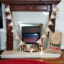 NADOLIG LLAWEN White Christmas Garland Home Decoration Bunting Burlap Banner