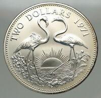 1971 The BAHAMAS SILVER 2 Dollars Large Coin Elizabeth II FLAMINGO Birds i85125