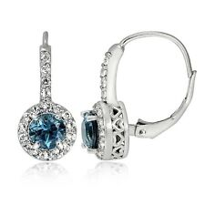 Sterling Silver 2ct London Blue & White Topaz Round Leverback Earring
