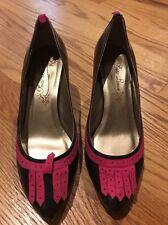 POETIC LICENCE Tassel Loafer Chocolate Pink High Heels Women Shoe Pumps Sz 8.5 #