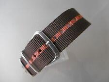 Nato Band Durchzugsband Textil braun orange braun Nylon Dornschließe 20 mm