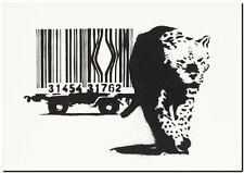 "BANKSY STREET ART *FRAMED* CANVAS PRINT Barcode leopard 20x16"" stencil - BW"