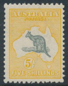 AUSTRALIA - 1918 5/- grey/yellow-orange Kangaroo, 3rd watermark, MH – ACSC # 44B