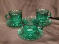 Fortecrisa - Mexico - Set of 3 Emerald Green Coffee/Tea Cups and Saucers