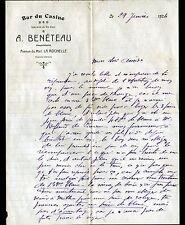 """LA ROCHELLE (17) BAR du CASINO """"A. BENETEAU Propriétaire"""" en 1924"""