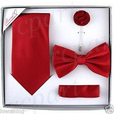 New in box Brand Q Men's necktie bowtie hankie lapel pin 4 piece set party red