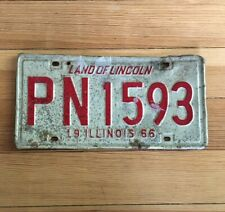 Vintage License Plate Illinois 1966 LAND OF LINCOLN PN1593