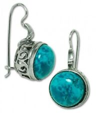 Earrings Natural Chrysocolla Eilat Stone Silver 925 French Hook Hand Made 1,3""