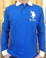MEN`S NEW US POLO ASSN LONG SLEEVE POLO SHIRT SIZE LARGE BLUE SLIM FIT AUTHENTIC