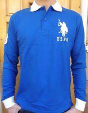Men's New US POLO ASSN Manche Longue Polo Shirt Taille L Bleu Slim Authentique