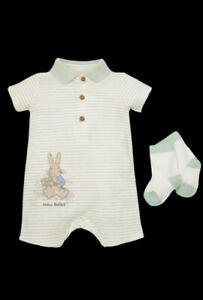 Peter Rabbit Striped Green Romper And Socks