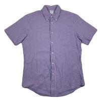 Brooks Brothers Regent Blue Purple Striped Button Down Short Sleeve Mens Medium