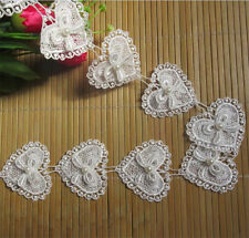 1 yd Vintage Heart Pearl Lace Edge Trim Ribbon Applique Embroidered Sewing Craft