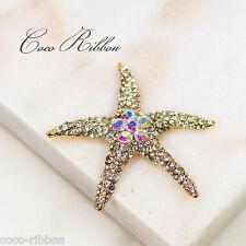 Alloy Rhinestone Sea Star Starfish Seastar Cabochon - 2pc 55mm A06