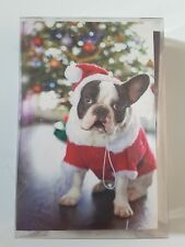 Carlton Cards Boston Terrier Santa Christmas Cards Pack Of 14 With Envelopes