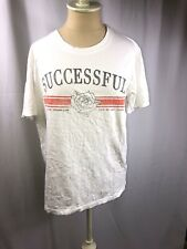 New Pull and Bear Black Successful Distressed Print T Shirt Men's Size Large