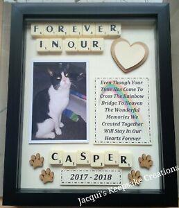 CAT MEMORIAL PICTURE BOX FRAME Personalised Keepsake RAINBOW BRIDGE Scrabble