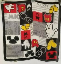 Mickey Mouse 100% Silk Scarf Vintage Mickey's World Rare Black Red Pants Gloves