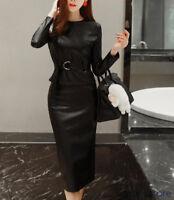 Elegent Damen Lederrock Jacke Bodycon-Kleid Lang Einfarbig OL Schwarz Kleider