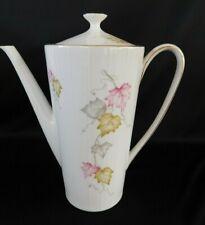 Zeh Scherzer COFFEE POT or TEAPOT Pink, Green, Gray Leaves, Gold Trim