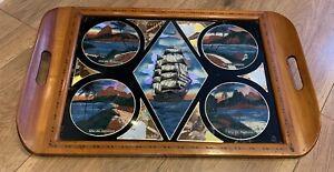 Vintage Hardwood Butterfly Tray Rio De Janeiro Brazil  Mid Century Nautical Ship