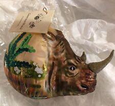 Christinas World Rhinoceros Figural Polish Mouth Blown Glass Christmas Ornament