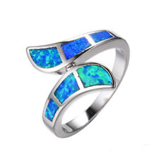 Silver Plated blue Fire Opal Opal Colorful Crystal Ring Valentine's Day Gift