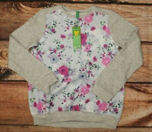 United Colors of Benetton Girls Sweatshirt Jumper Grey Floral 7-8 Years