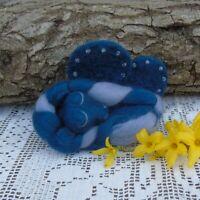 sleeping Dragon  hand made - needle felt fantasy - blue - hand sewn beads