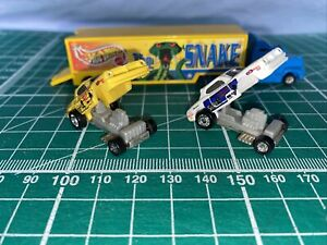 Hot Wheels, Planet Micro, 1990's, The Snake Semi Truck And 2x Racing Cars