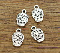 30 Sugar Skull Charms Goth Halloween Skeleton Charms Antique Silver 11x17 2260