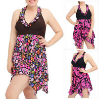 Plus Size Women Swimdress One Piece Swimsuit Swimwear Push-up Padded Halterneck