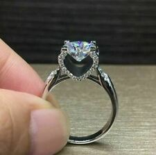 2Ct 925 Sterling Silver Round Cut Solitaire Engagement Ring 14K White Gold Over