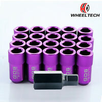 20pcs Purple 42mm Aluminum Racing Wheel Lug Nuts M12x1.5 For Toyota Honda Ford