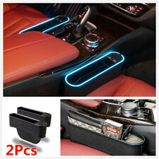 2Pcs Car Seat Left+Right Storage Box Organizer W/Blue LED Light 4 USB Charger