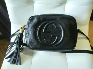100% Authentic GUCCI Disco Bag Black Leather