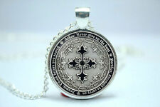 Assassin's Creed Four Musketeers silver cross Geocoin medallion glass necklace