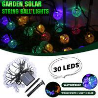 30 LED Guirlandes Lumineuses Eclairage Solaire Jardin Patio Noël Étanche  #