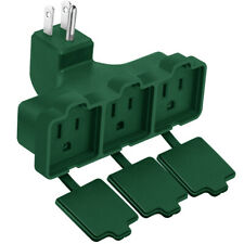 3-Outlet Wall Plug Adapter, Power Strip Indoor Outdoor Use Heavy Duty UL Listed