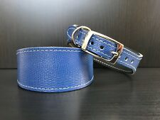 S/M Leather Dog Collar LINED Greyhound Whippet Saluki BLUE REPTILE SMALL PATTERN