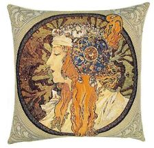 "NEW ALPHONSE MUCHA BYZANTINE BLONDE 18"" TAPESTRY CUSHION COVER 6007"