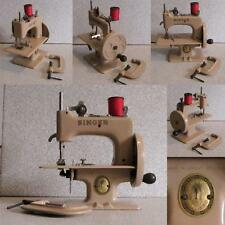 stunning rare beige SINGER CHILDS TOY SEWING MACHINE + clamp + manual