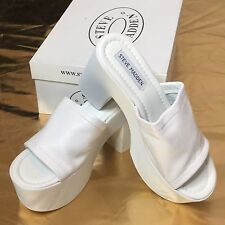 Steve Madden Womens Shoes sz 7 Made In Italy Roya White Leather Platform Sandals